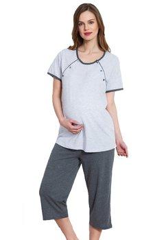 Pijama alaptat, gri deschis, pantalon 3/4 gri inchis