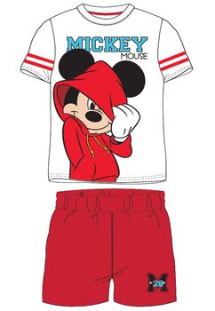 Pijama, maneca scurta, Mickey 28, alb cu rosu