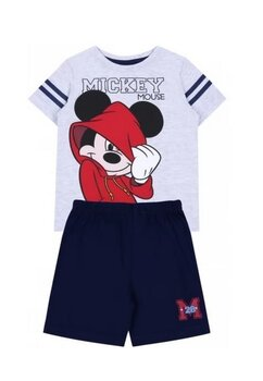 Pijama, maneca scurta, Mickey 28, gri cu bluemarin