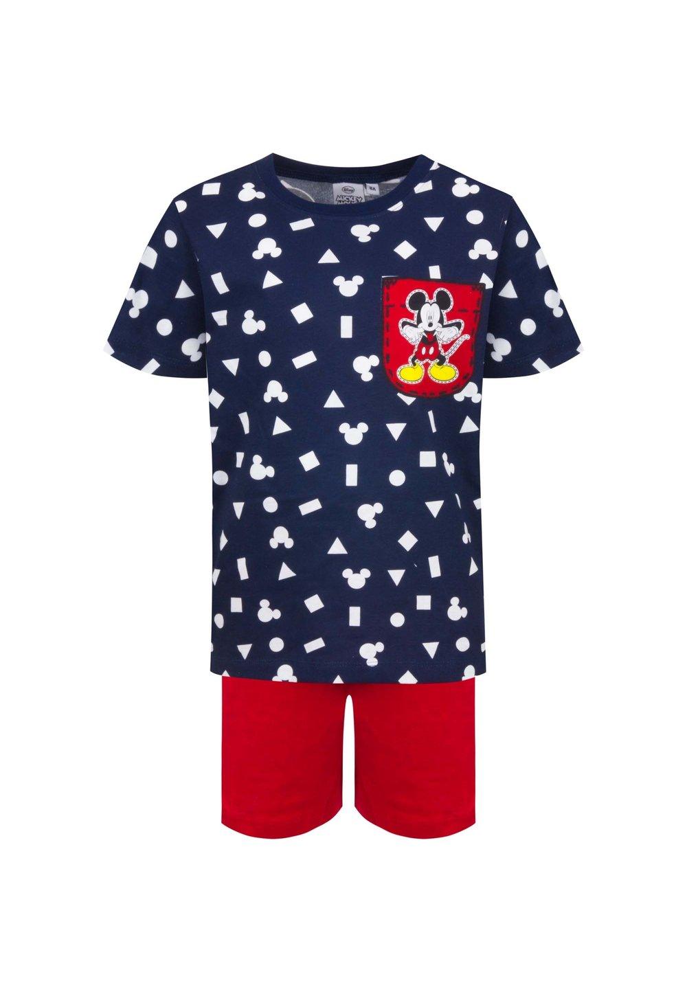 Pijama, maneca scurta, Mickey, bluemarin cu rosu imagine