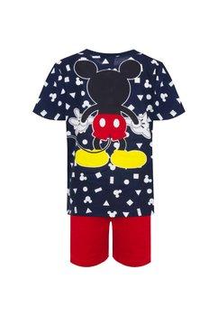 Pijama, maneca scurta, Mickey, bluemarin cu rosu