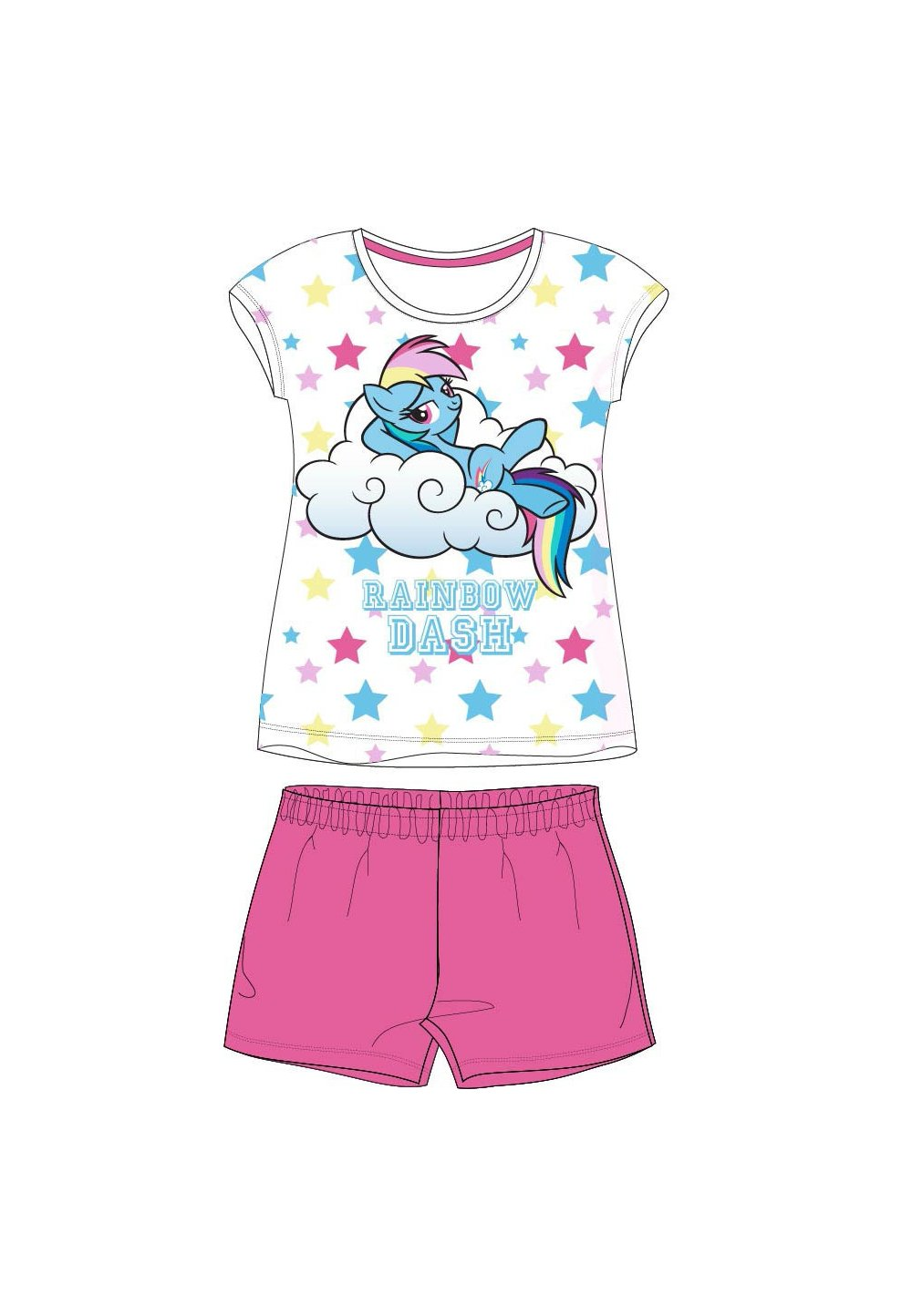 Pijama, maneca scurta, Rainbow dash, roz imagine
