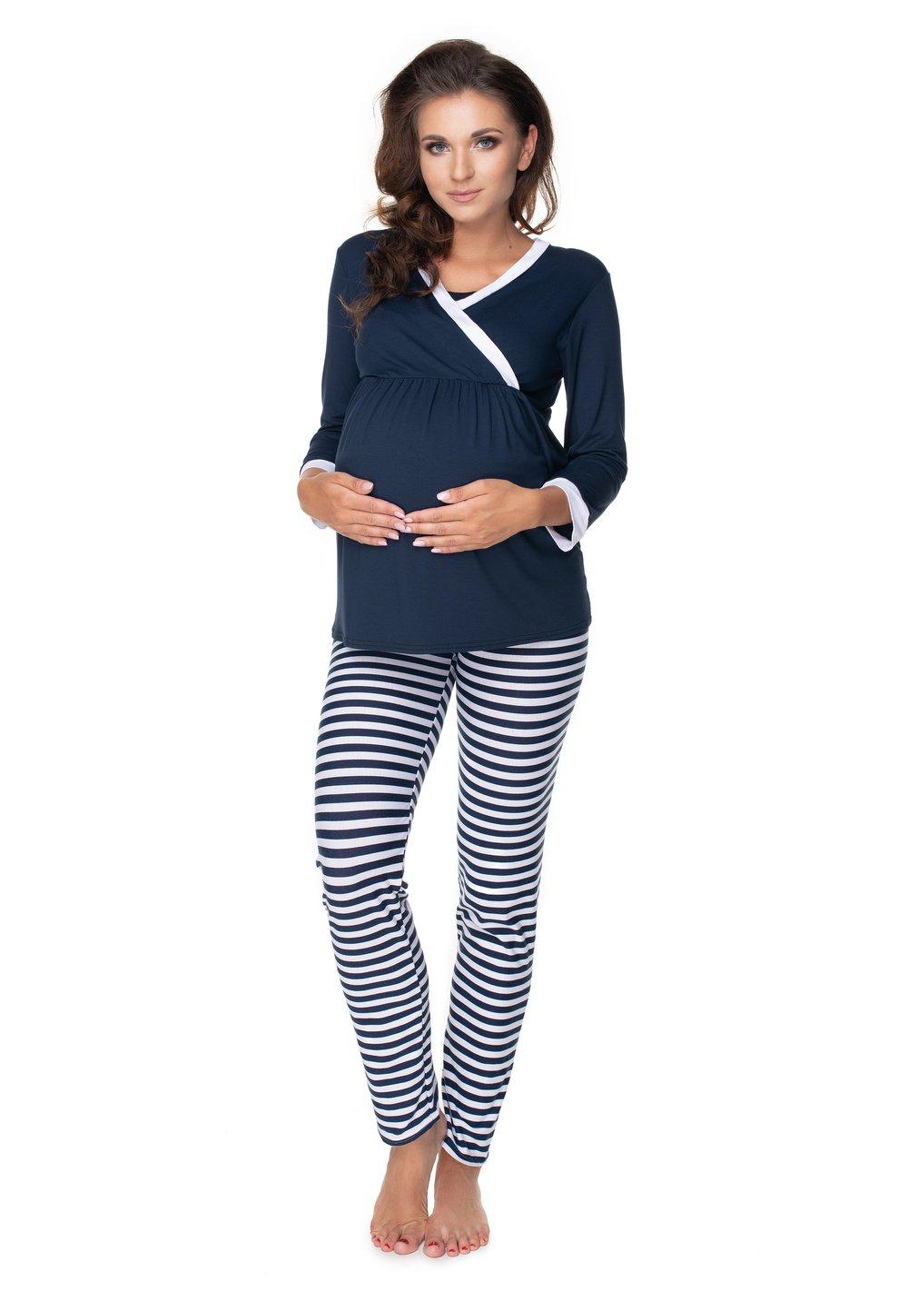 Pijama pentru alaptat, bluemarin cu dungi albe imagine