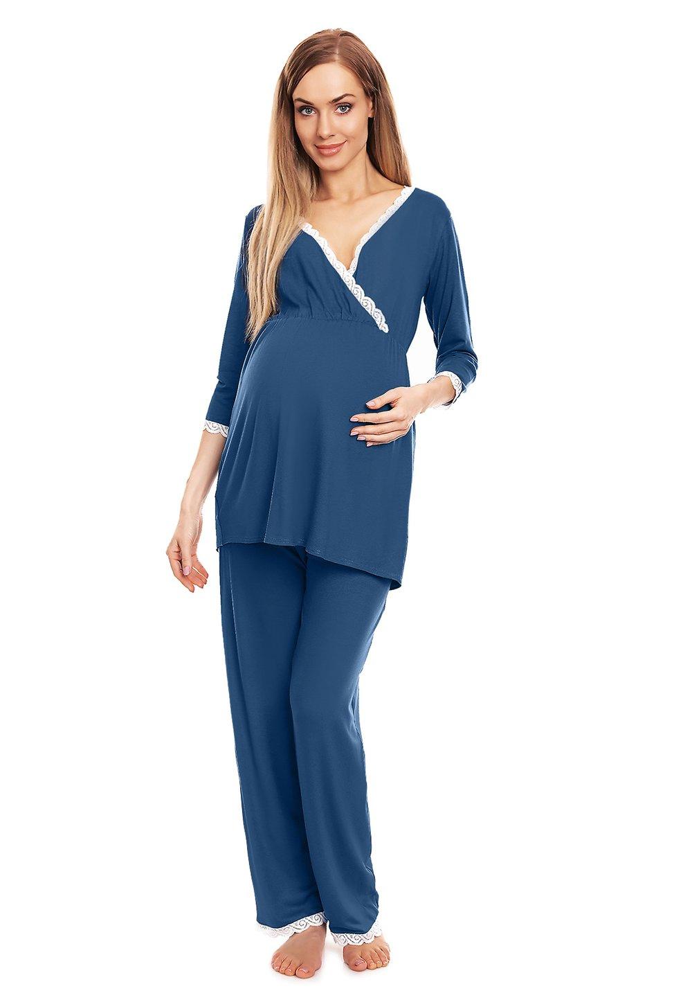 Pijama pentru alaptat, cu dantela, albastra imagine