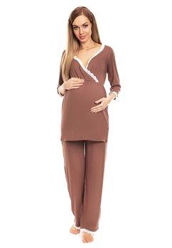 Pijama pentru alaptat, cu dantela, cappuccino