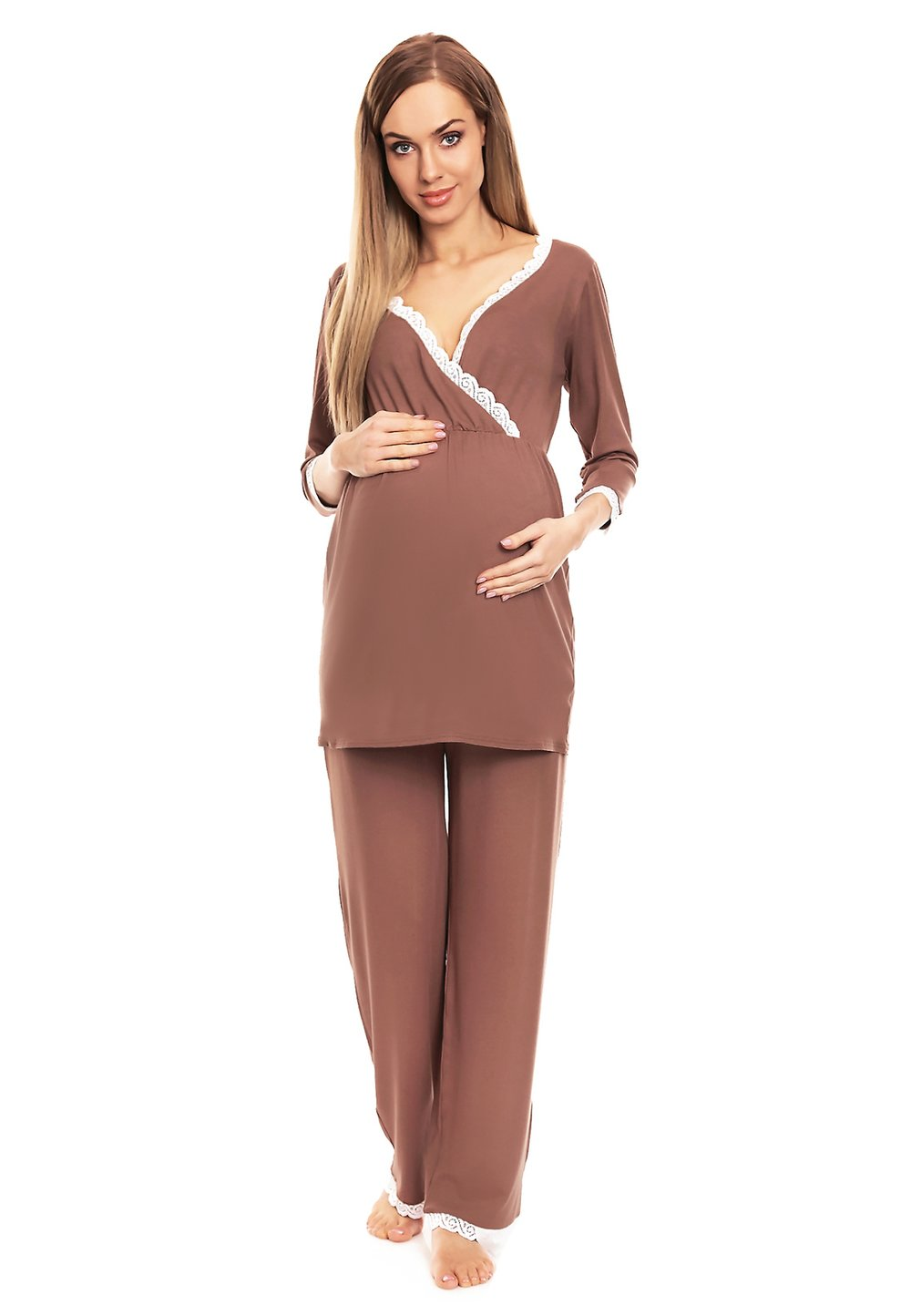 Pijama pentru alaptat, cu dantela, cappuccino imagine