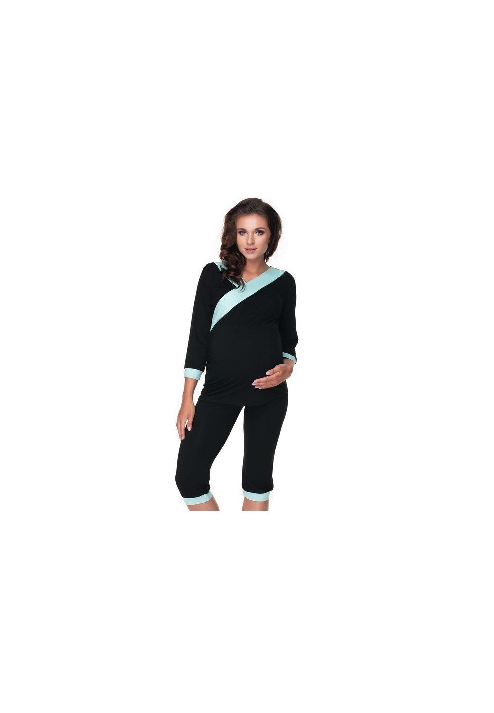 Pijama pentru alaptat, negru cu turcoaz imagine