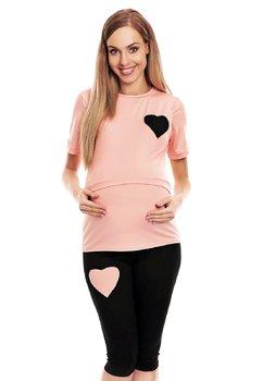 Pijama pentru alaptat, pantalon 3/4, roz cu inimioara