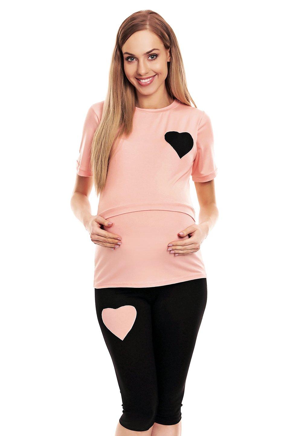 Pijama pentru alaptat, pantalon 3/4, roz cu inimioara imagine