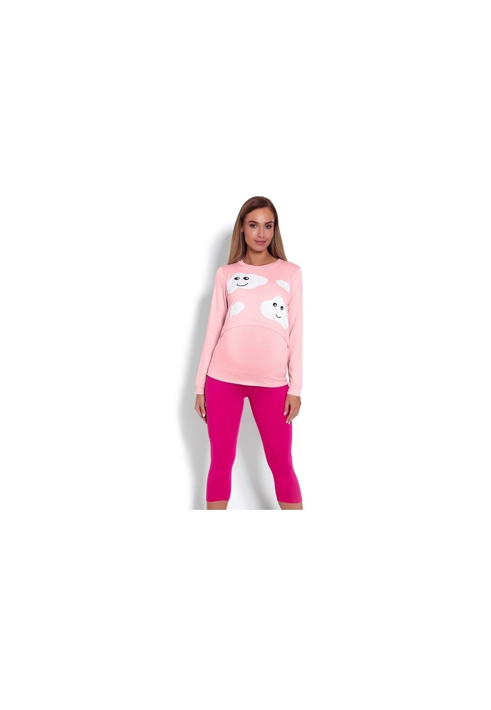 Pijama pentru alaptat, roz cu norisori imagine