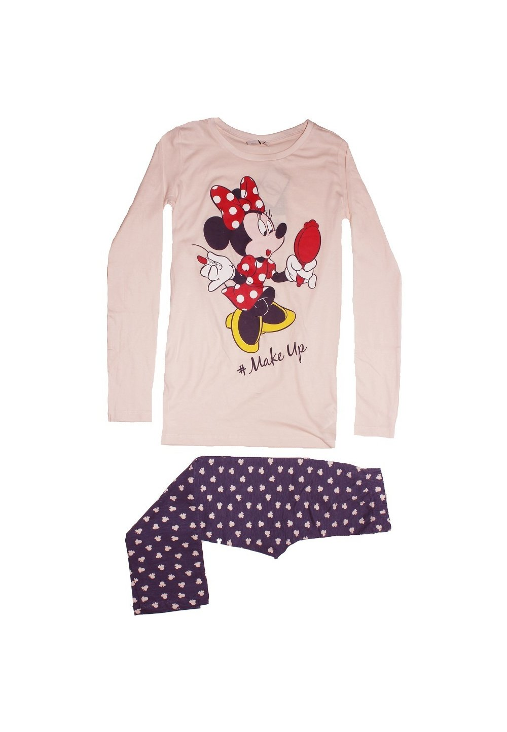 Pijama roz deschis, pantalon 3/4, Minnie Mouse imagine