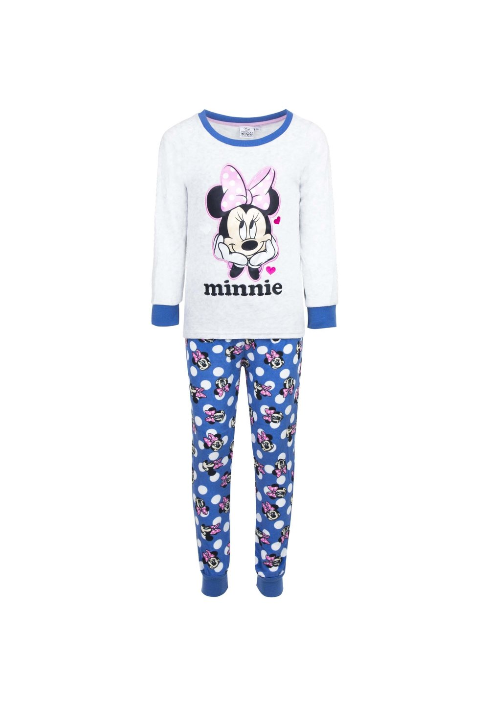 Pijama velur gri, Minnie cu fundita roz imagine