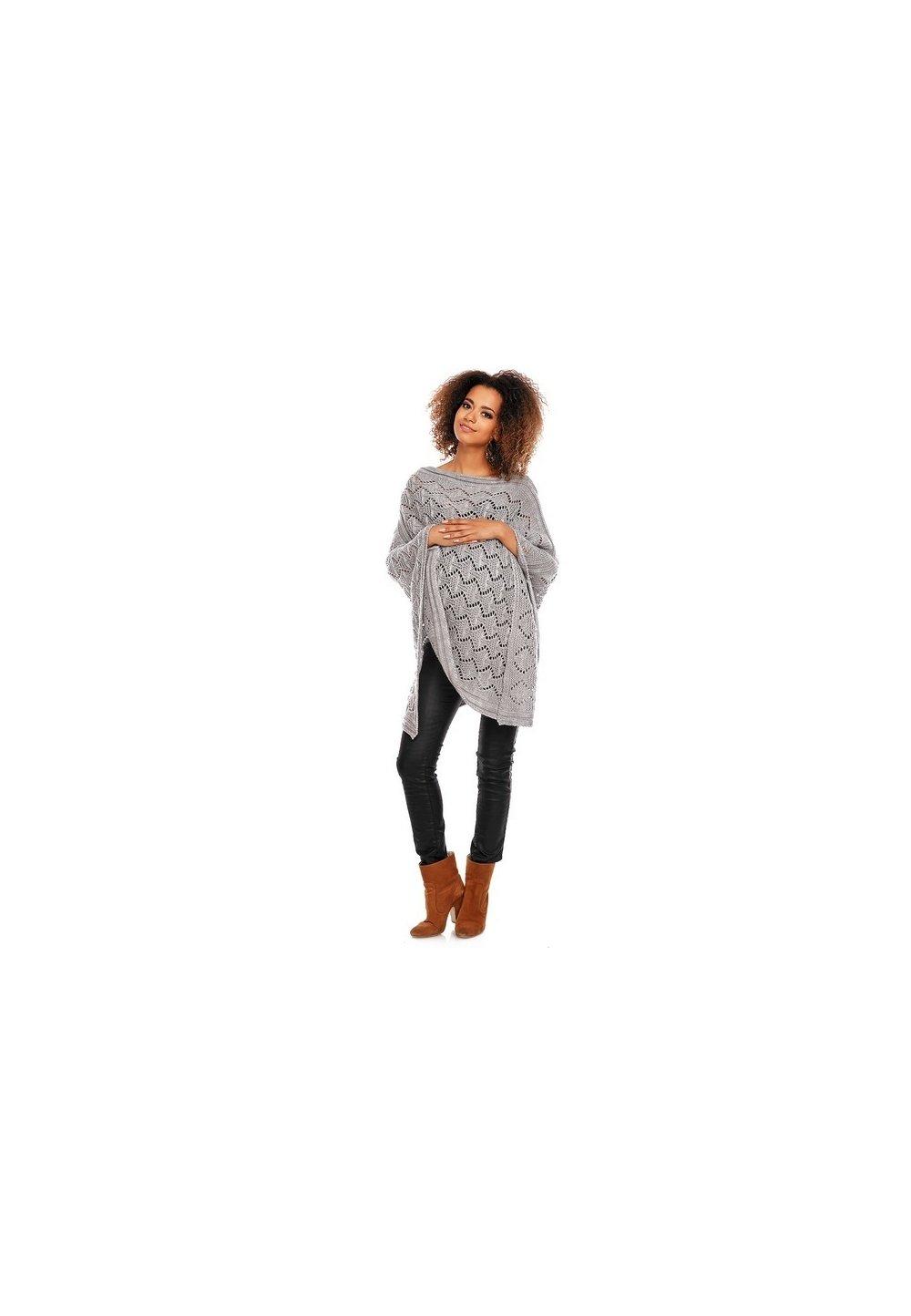Poncho gri, tricotat imagine