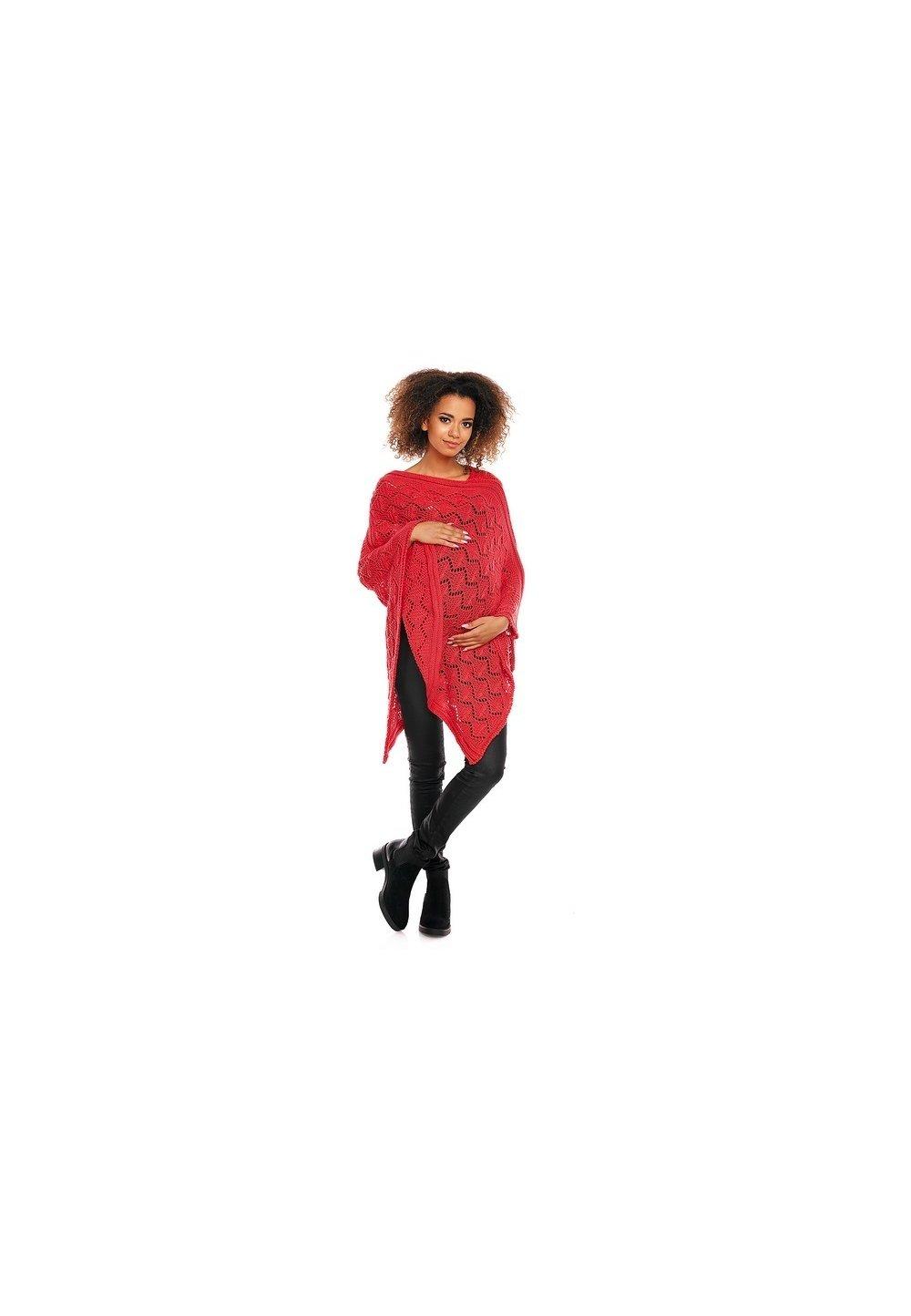 Poncho rosu, tricotat imagine
