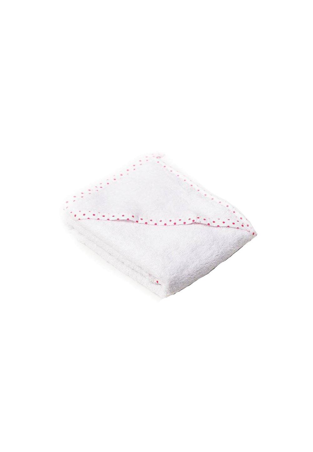Prosop baie cu gluga, bumbac, alb cu blulinute roz, 75x75cm imagine