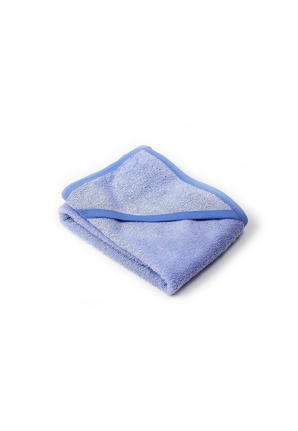 Prosop baie cu gluga, bumbac, albastru, 75x75cm imagine
