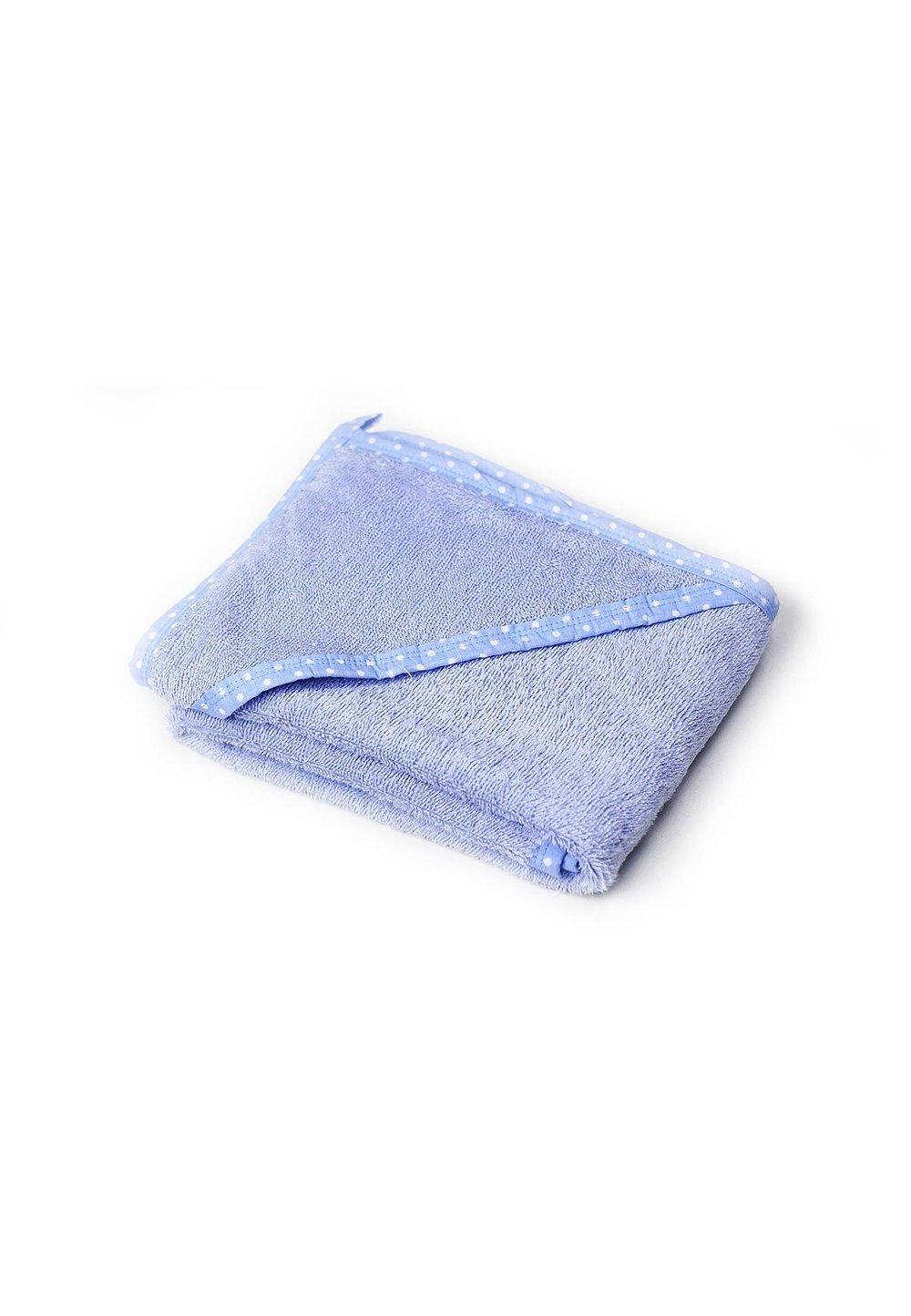Prosop baie cu gluga, bumbac, albastru cu bulinute albe , 75x75cm imagine
