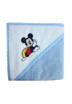 Prosop bumbac, alb cu albastru, bebe Mickey, 80 x 100 cm