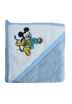 Prosop bumbac, alb cu albastru, Mickey si Pluto, 80 x 100 cm