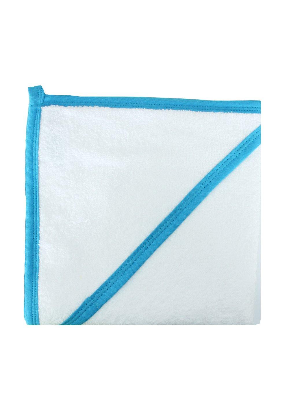Prosop bumbac, alb cu margine turcoaz, 80 x 100 cm imagine