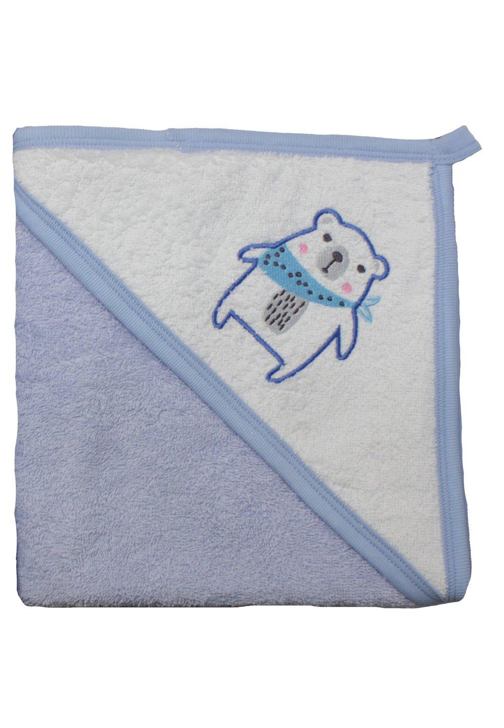Prosop bumbac,albastru, ursuletul cu esarfa, 80x100cm imagine
