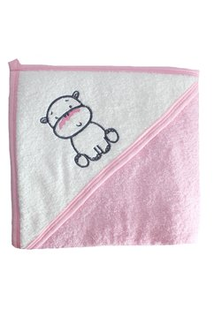 Prosop bumbac, roz cu hipopotam, 80x100cm