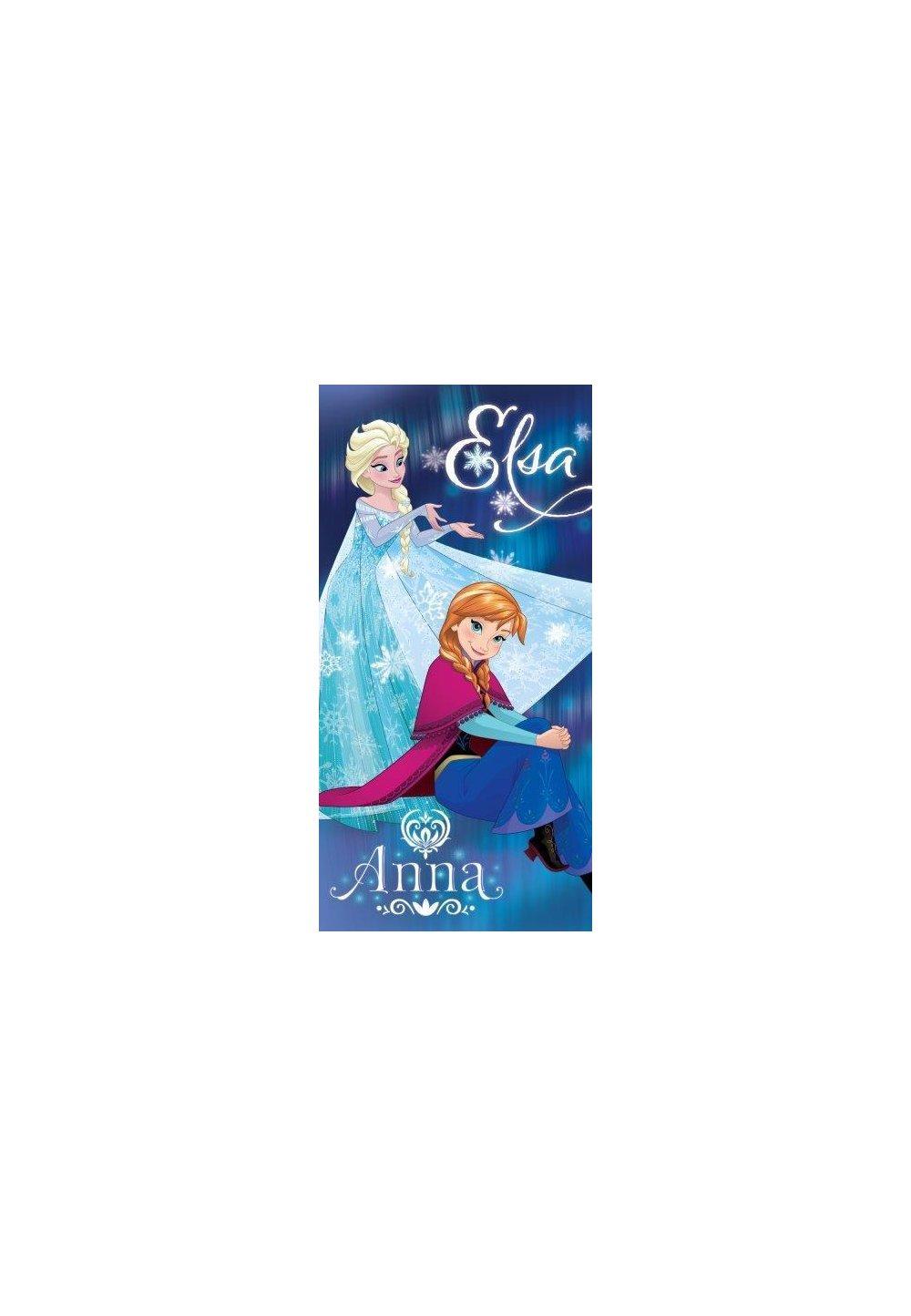 Prosop de plaja, albastru, Anna si Elsa, 70x140cm imagine