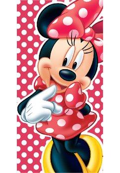 Prosop, Minnie Mouse, rosu cu buline albe, 70x140cm
