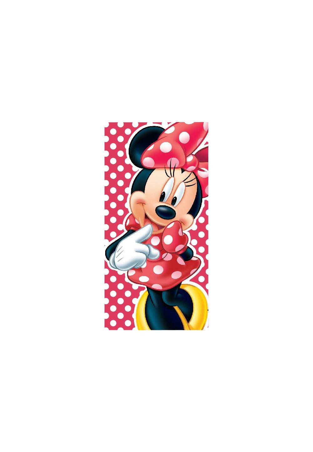 Prosop, Minnie Mouse, rosu cu buline albe, 70x140cm imagine