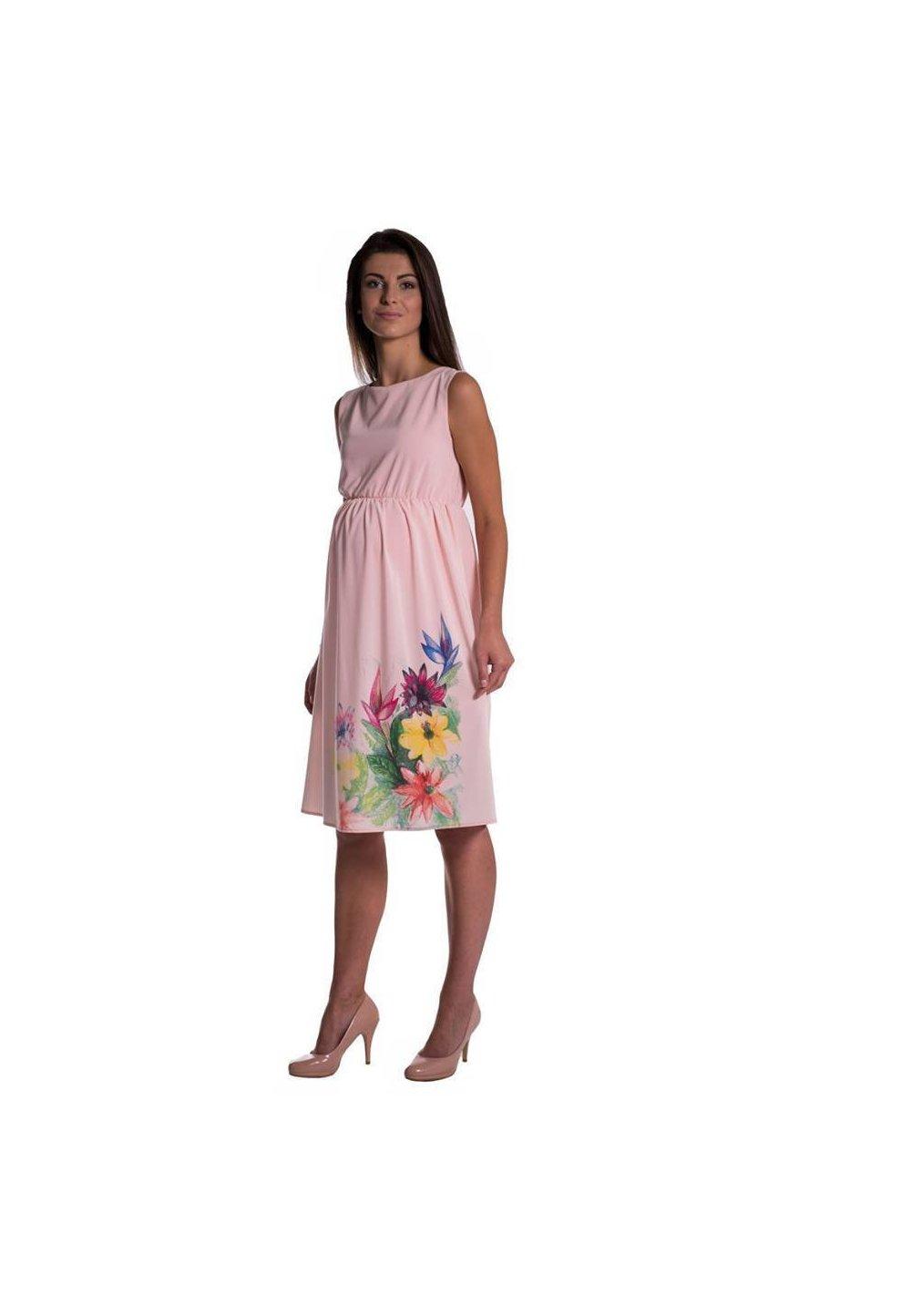 Rochie gravide, roz cu imprimeu floral imagine