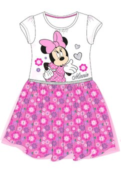 Rochie maneca scurta, alba cu floricele, Minnie