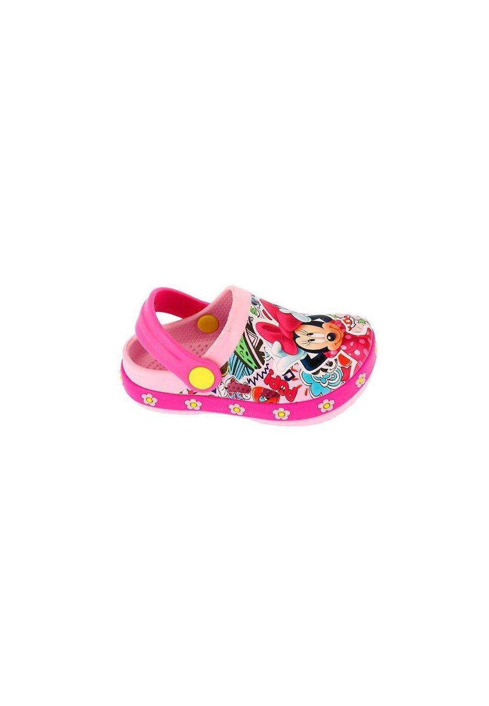 Saboti plaja, roz cu floricele, Minnie Mouse