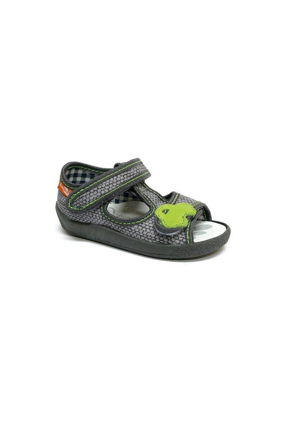 Sandale Baieti, Gri Cu Masinuta Verde