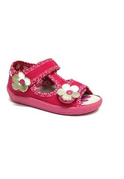 Sandale fete cu floricica argintie