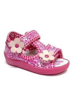 Sandale fete roz dantelat cu floricica