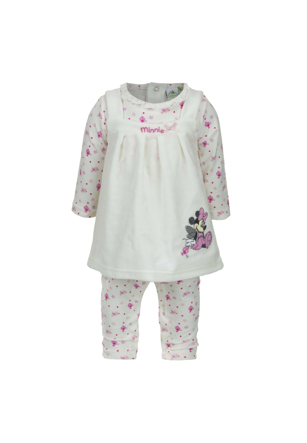 Set 2 piese, salopeta si rochita, Minnie, alb cu roz imagine