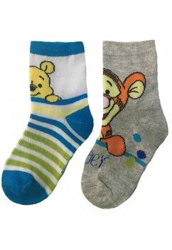Set 2 sosete, Winnie si Tiger, albastru cu gri