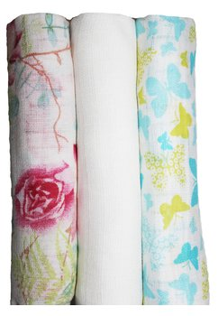 Set 3 scutece, Rosa si Butterfly turcoaz, 80 x 70 cm
