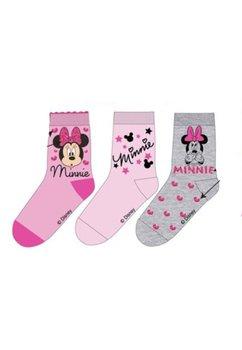 Set 3 sosete, gri cu roz, Minnie