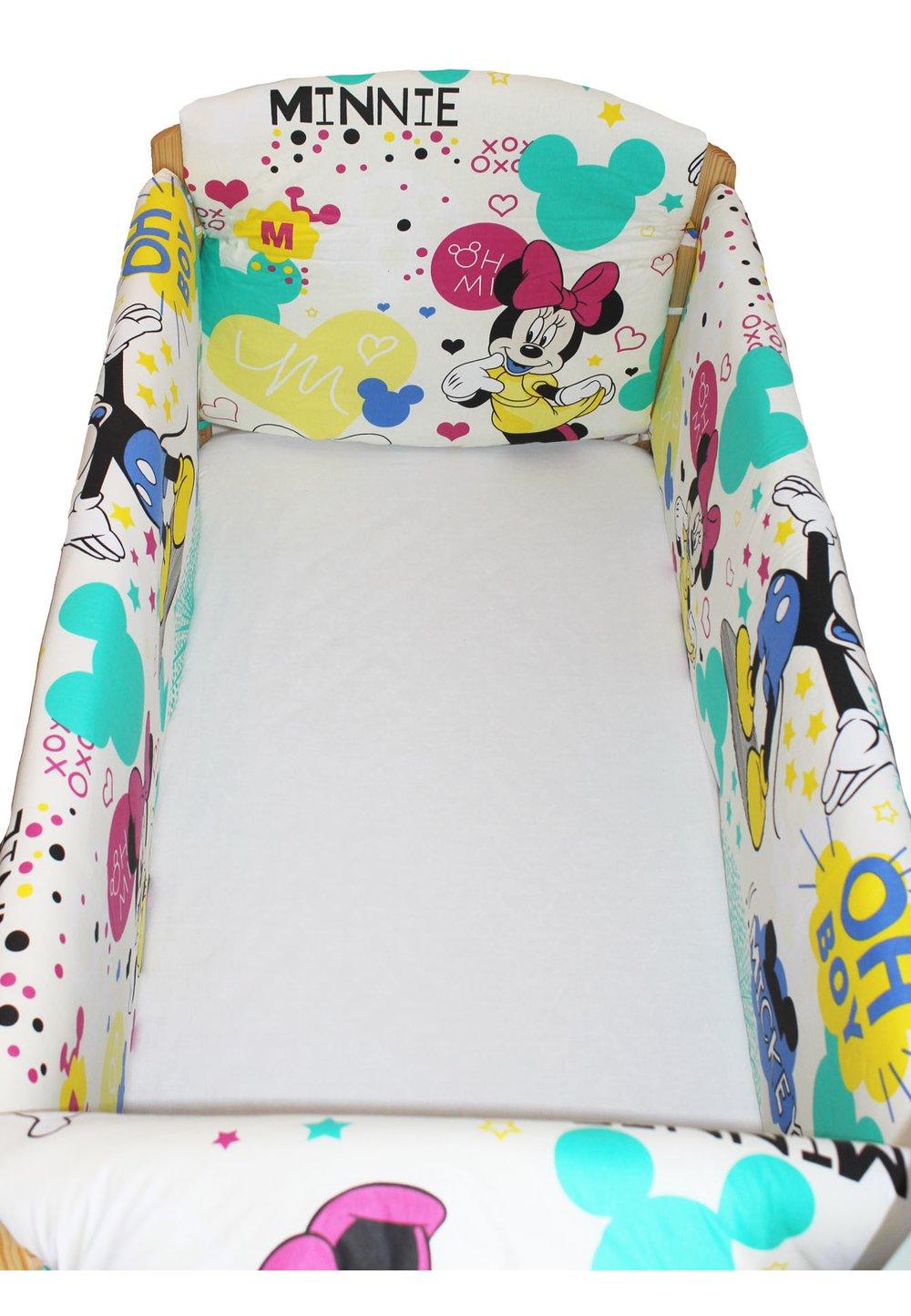 Set aparatoare patut, Maxi, Minnie si Mickey, crem, 120 x 60 cm imagine