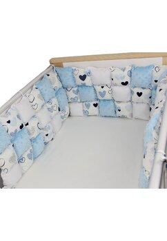 Set aparatori pufoase, inimioare, albastre, 3 x 60 cm