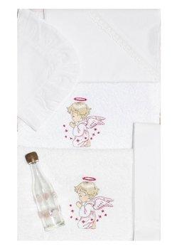 Trusou botez alb, ingeras roz