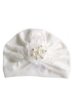Turban catifea, ivory, cu floricica