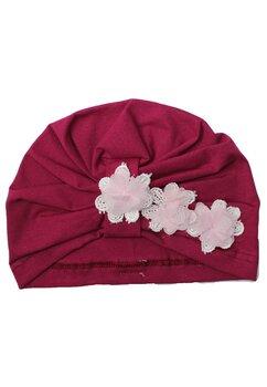 Turban, roz inchis cu trei floricele
