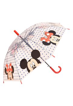Umbrela Minnie si Mickey Mouse, transparenta cu buline