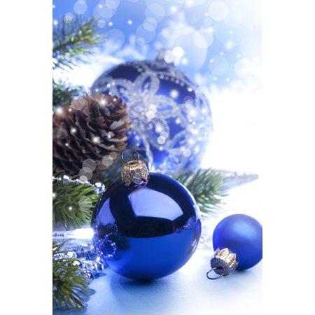 Felicitare Craciun cu globulete albastre