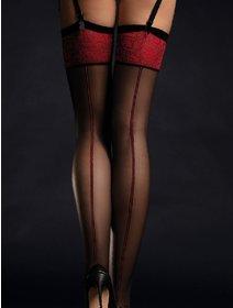 Ciorapi cu dunga pentru portjartier Fiore Scarlet 20 den