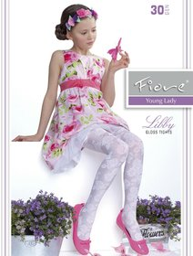 Ciorapi satinati cu model Fiore Libby 30 den