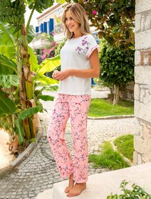 Pijamale bumbac cu flori Berrak 890