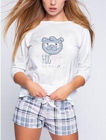 Pijamale bumbac cu imprimeu ursulet Sensis Hug Me